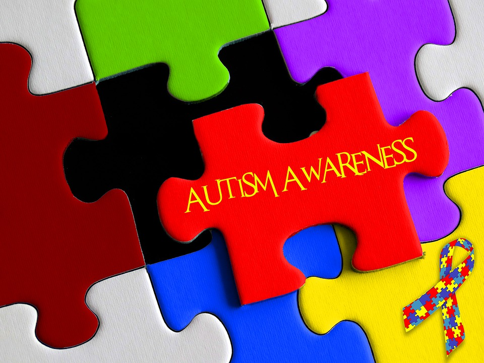 Multi coloured jigsaw pieces slotting together, central one says 'AUTISM AWARENESS'